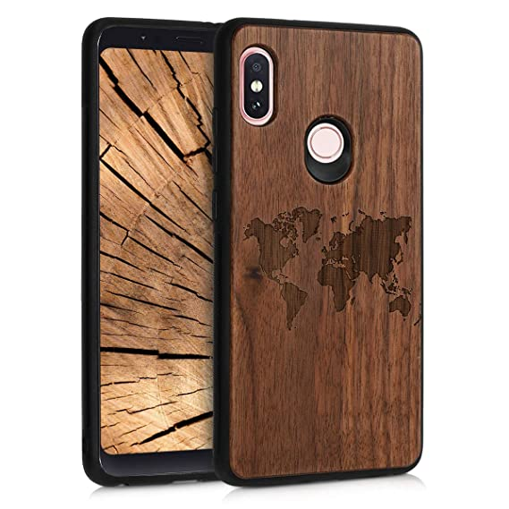 more photos 11043 15e2b Amazon.com: kwmobile Wooden Protection case for Xiaomi Redmi Note 5 ...