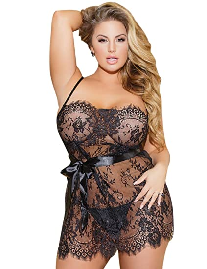 7c2fd081d2 2018 New Women Plus Size Sexy Lingerie Soft See-Through Lace Patchwork w G