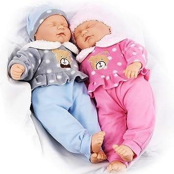 "496413b0e101 The Magic Toy Shop 18"" Twins Baby Dolls Twin Babies Cuddles Baby Girl  Boy New"