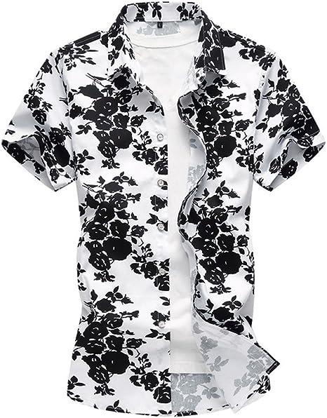 Camisa de Manga Corta de Gran tamaño Floral de algodón de los Hombres de Verano, Flor Negra, 5XL: Amazon.es: Deportes y aire libre
