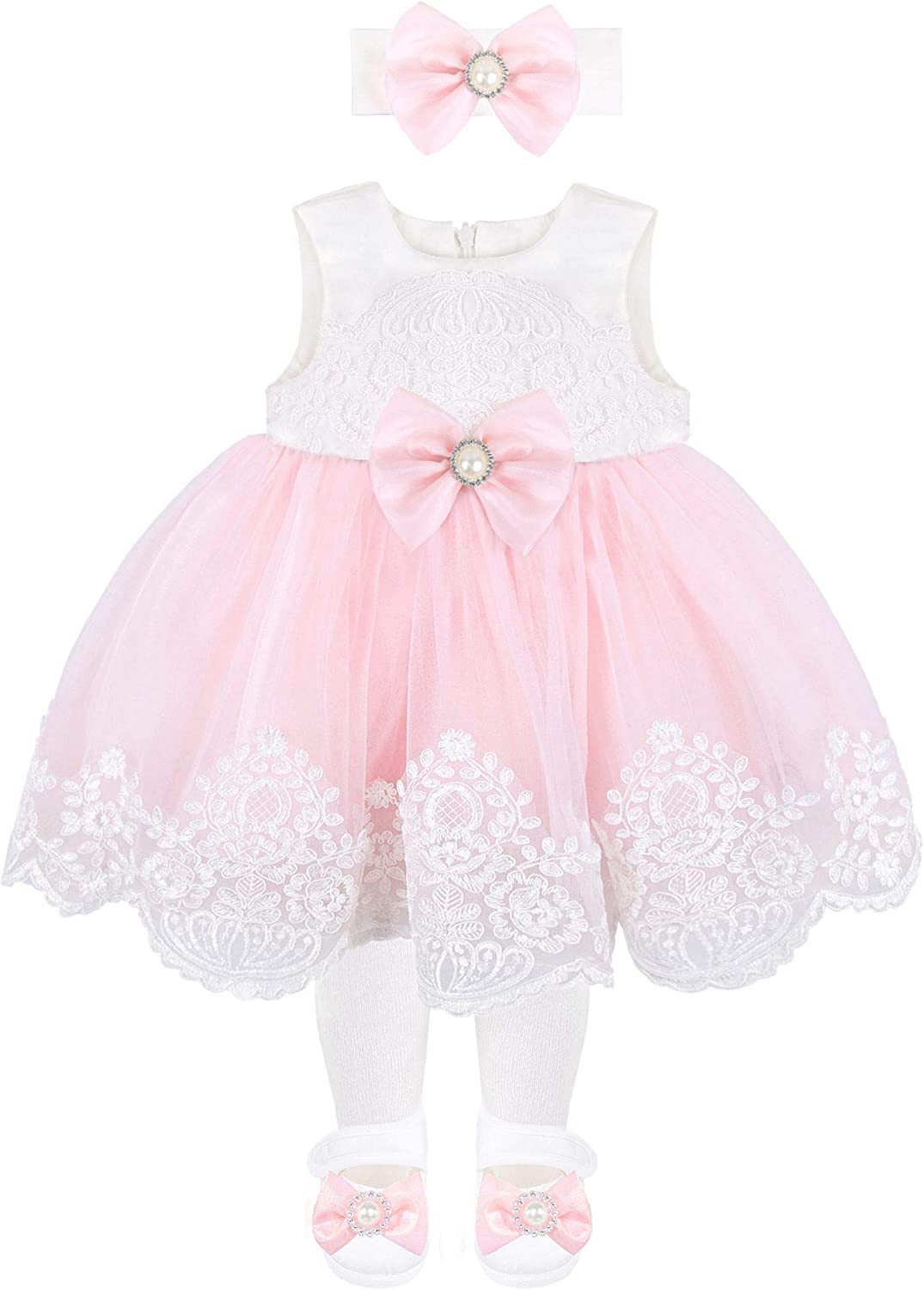 Taffy Taffy Baby Girl Newborn Pink Embroidered Princess Pageant Dress Gown 6 Piece Deluxe Set T.F