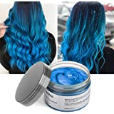 Hair Color Wax Instant Blue Unisex Hair Dye Wax 4.23 oz Temporary Hairstyle Cream Styling Hair Wax Party Cosplay(Blue)