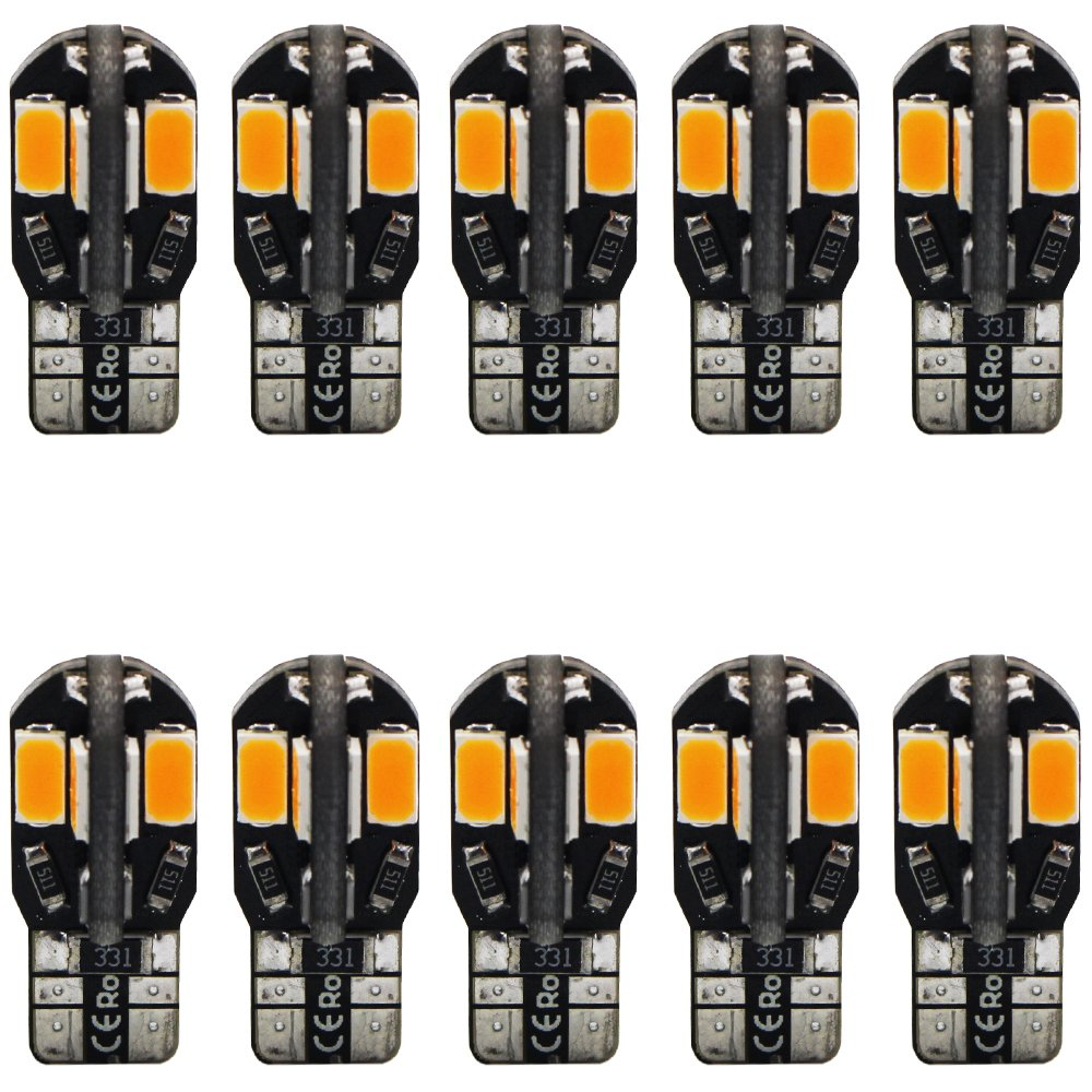 10-Pack T10 194 168 168 2825 Extremely Bright Amber/Yellow 200Lums Canbus Error Free 12V LED Light, 8-SMD 5730 Chipsets Car Replacement Bulb For Map Dome Courtesy License Plate Side Marker Light Amazenar(TM)