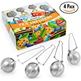 4 Pack Gift Set Tea Infuser with Long Handle for Loose Leaf Tea - Cup, Mug, Tea Pot, Pitcher by Hohich - Strainer, Mesh Ball Steeper & Stainless Steel Filter, Pincer, Tea Maker, Tong