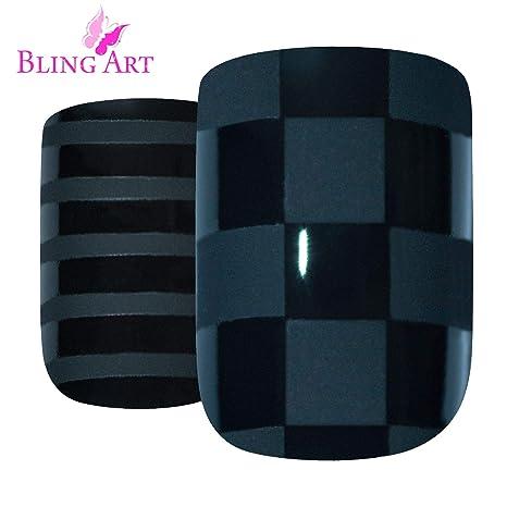 Uñas Postizas Bling Art Matte Negro 24 Squoval Medio Falsas puntas acrílicas con pegamento