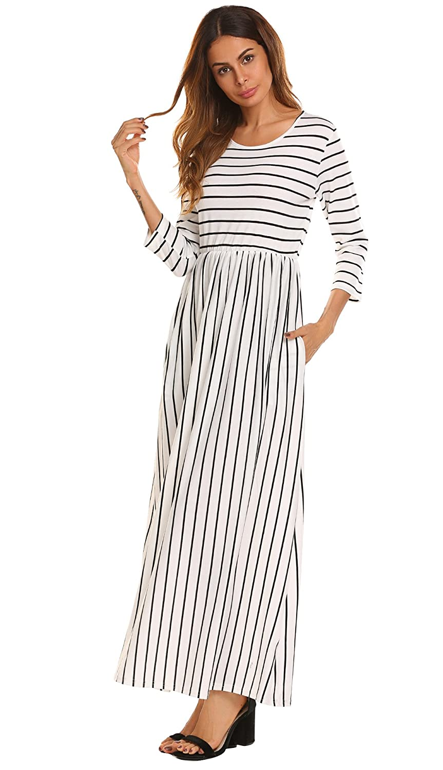 cec99460647 POGTMM Womens Casual Fall Striped 3 4 Sleeve Long Dress Plain A Line Maxi  Dress Side Pocket at Amazon Women s Clothing store