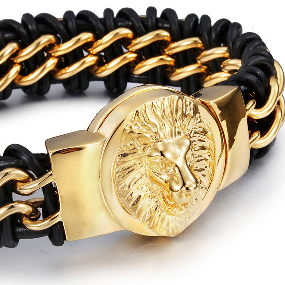 "Gold Tone Lion and Black Leather Wrap Jewelry Kingdom 1 Stainless Steel Lion Head Bracelet Link Bangle Cuff Black Braided Genuine Leather Wrap Wristband for Men Boys Biker Heavy and Big Size 8.6/"" ."