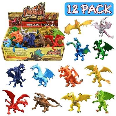 12 piezas Juguetes de Mini Dragón de 4 pulgadas , Conjunto de con Caja de Regalo, Mundo Zoológico no tóxico,Plástico de vinilo ABS - Material de seguridad, Favoritos de Fiesta para Chicos y Niños: Juguetes y juegos