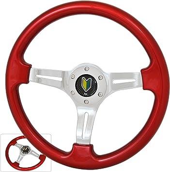 Universal 350MM 6 Bolt Hole Heavy Duty Light Weight Steering Wheel Pink Trim Neo Chrome Center Streak Design Wakaba JDM Leaf Horn