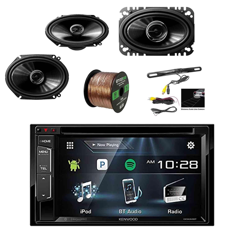 Kenwood DDX24BT Multimedia Bluetooth Receiver w/Pyle License Plate Mount Rear View Color Camera, Pioneer 250W 6x8'' 2-Way SPKR(Pair), Pioneer 4x6'' 2-Way 200W SPKR(Pair) & Enrock 16G 50' SPKR Wire