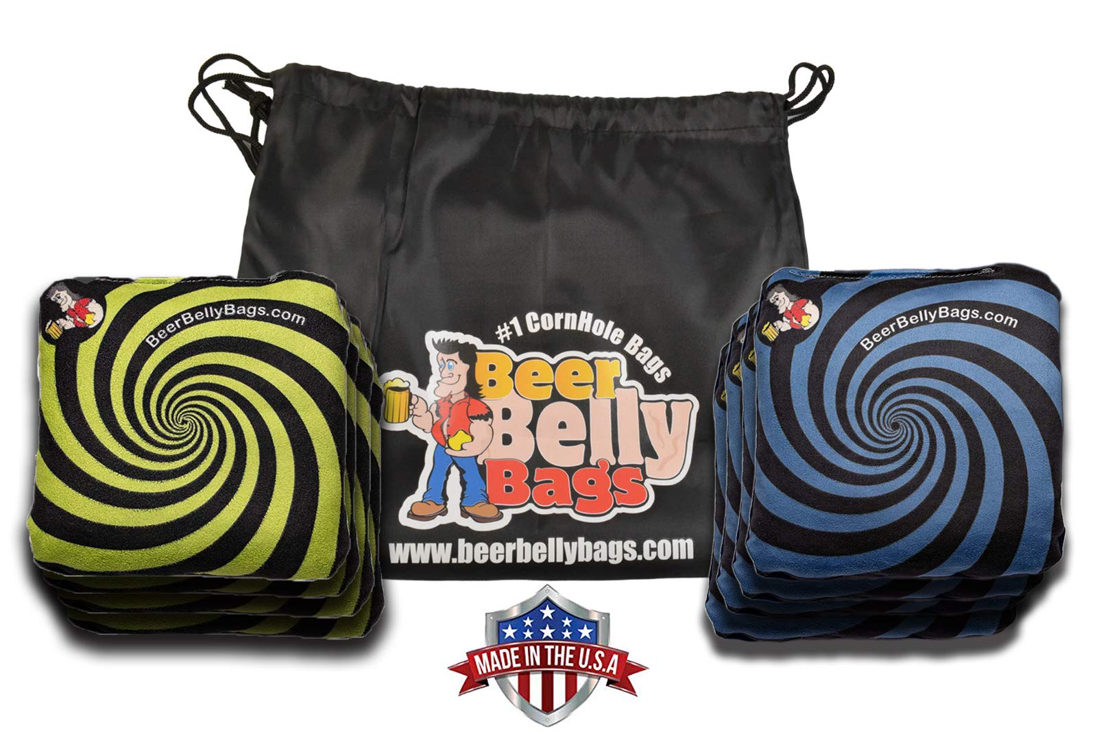 Beer Belly Bags Cornhole - Performance Series 8 Bags ACL Approved Resin Filled - Double Sided - Sticky Side | Slick Side (Lime/Blue) by Beer Belly Bags