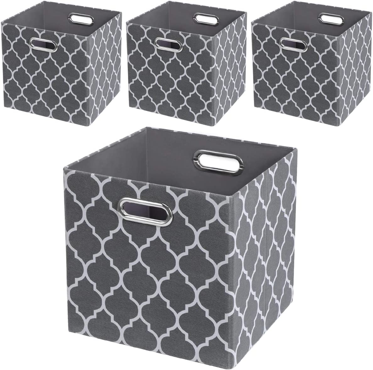 Storage Cubes,11×11 Collapsible Fabric Storage Bins Boxes Baskets - Set of 4, Grey Lantern Patterned