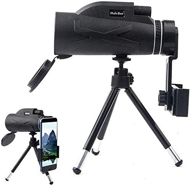 UYZ Telescopio monocular de Alta Potencia 80x100 Monoculares portátiles compactos Alcance Impermeable con Clip para teléfono y trípode para observación de Aves con teléfono Inteligente