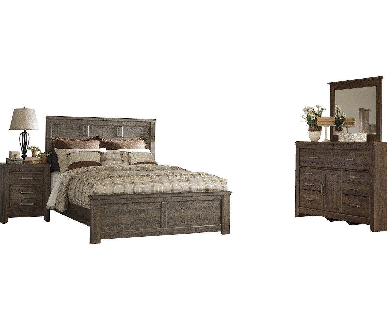 Amazon.com: Ashley Juararo 4PC Queen Panel Bedroom Set In Dark Brown ...