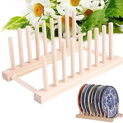 HUVE 8 Rejillas Bandeja de bambú para organizar y secar vasos, platos, tapas;