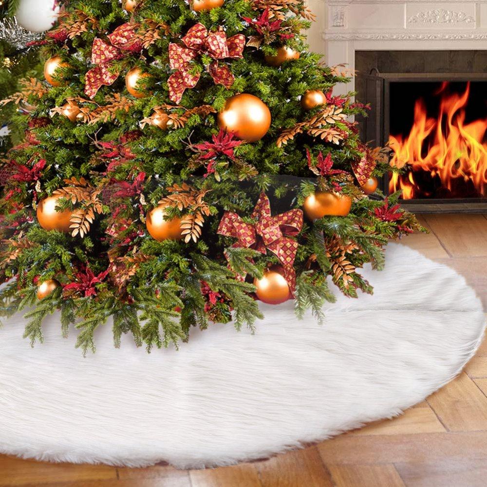 seebesteu Albero di Natale Gonna Copertura di Base Peluche Pannello Esterno Natale Decorazioni (Bianco 78cm)