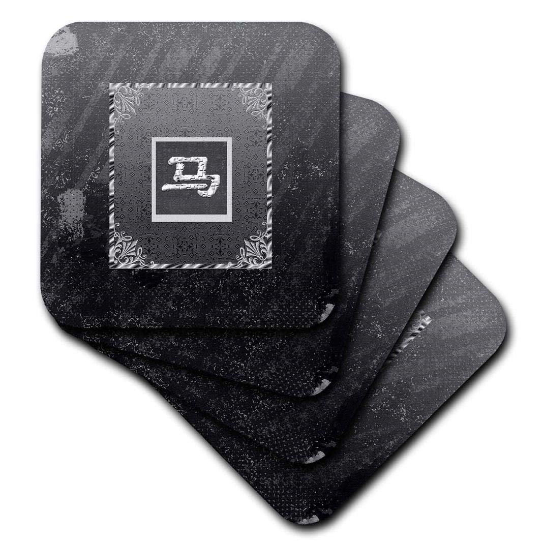 Distressed Aged Look Soft Coasters Set of 4 3dRose Sign of Horse CST/_167275/_1 Black and Gray Chinese New Year