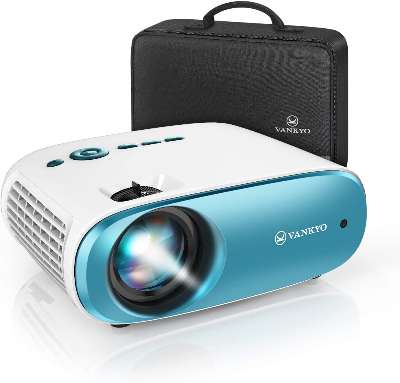 "VANKYO Cinemango 100 Mini Video Projector, 3800 Lux HD Movie Projector Support 1080P, 220"" Display, 50,000 Hrs Lamp Life, Compatible with TV Stick, HDMIx2, USBx2, VGA, TF, AV for Home Entertainment"