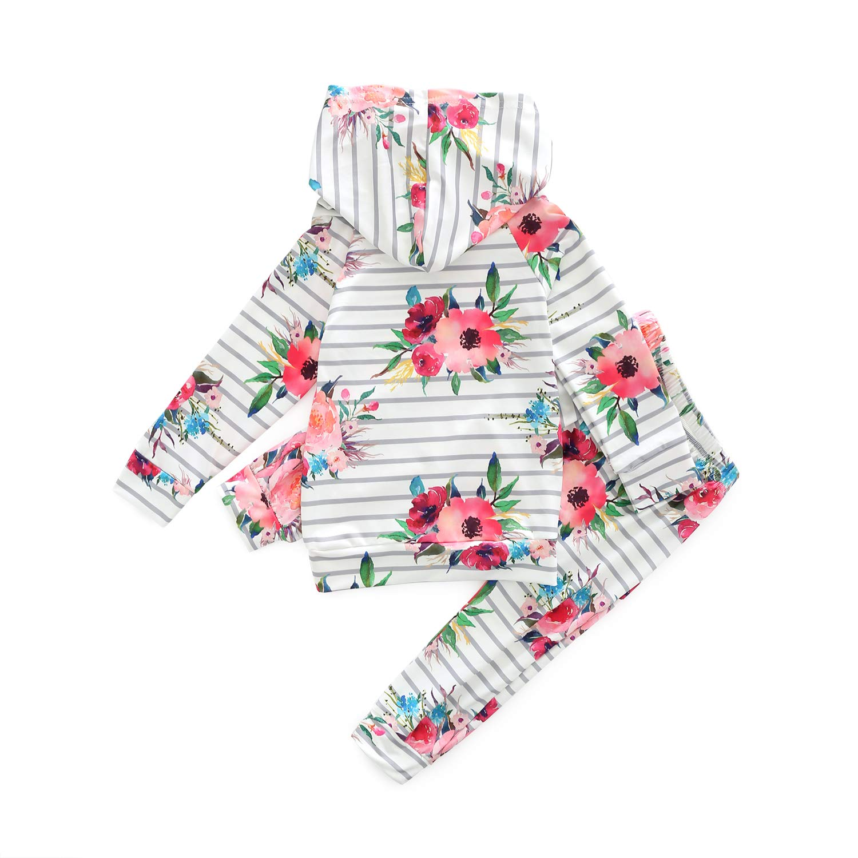MHSH Baby Long Sleeve Flowers Sweatshirt and Pants Outfit with Hoodie and Kangaroo Pocket