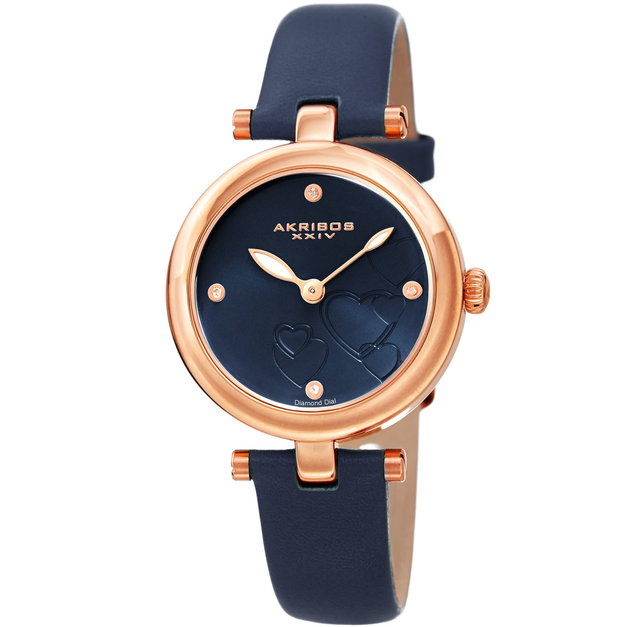 Akribos XXIV Women's Diamond Accented Heart Engraved Dial Blue Leather Strap Watch - Packed in a Beautiful Gift Box, Perfect for Mothers Day- AK1044BU