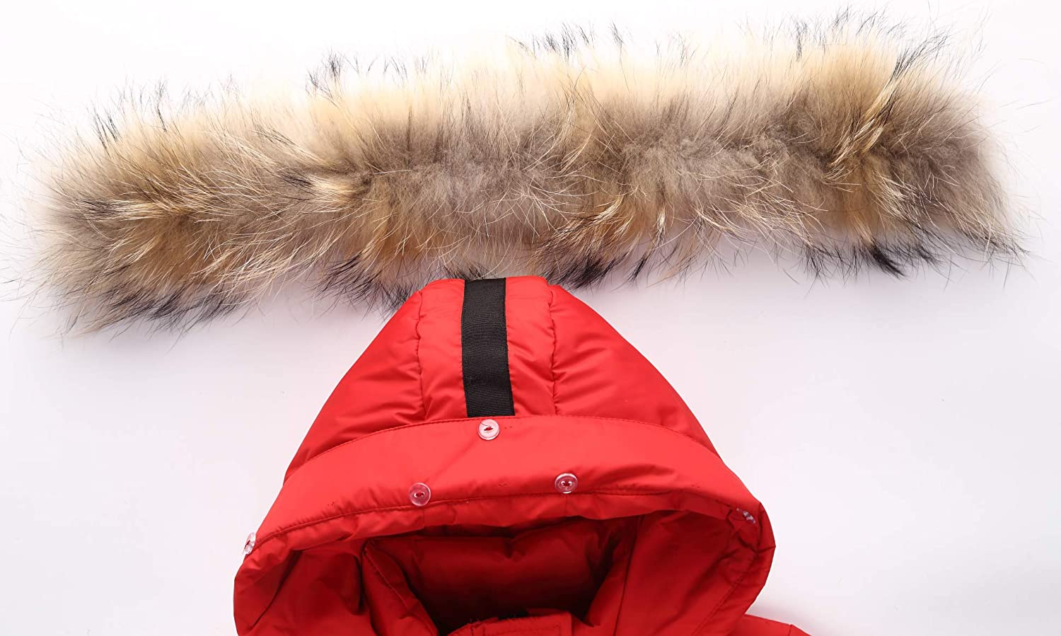 Child Kid Girl Simple Solid Hooded Thick Winter Parka Mid Long Duck Down Puffer Padded Jacket Overcoat with Fur Trim