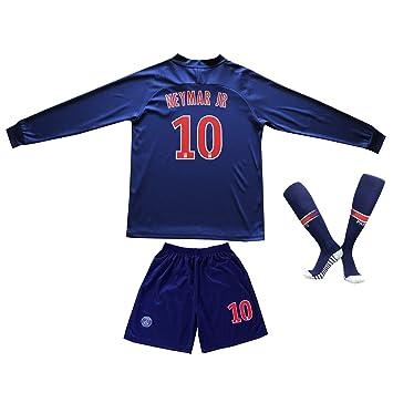 meet 052e5 6dfe4 2018/2019 Paris #10 Neymar Jr. Heim Lange Ärmel Kinder Fußball Trikot Hose  und Socken Kindergrößen