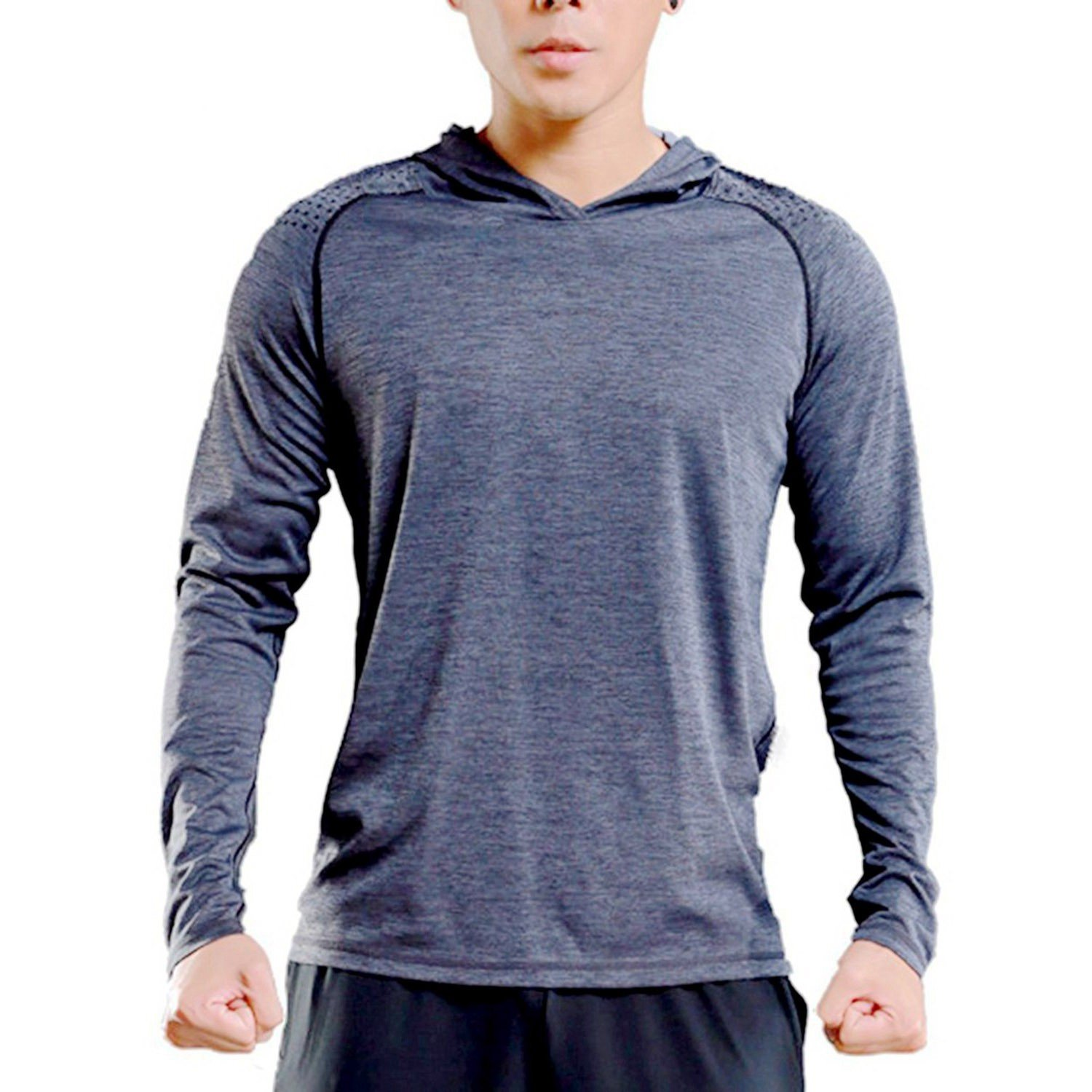TBMPOY Men's Hooded Muscle Bodybuilding Sports Tops Running Training Activewear(01 Grey,us L)