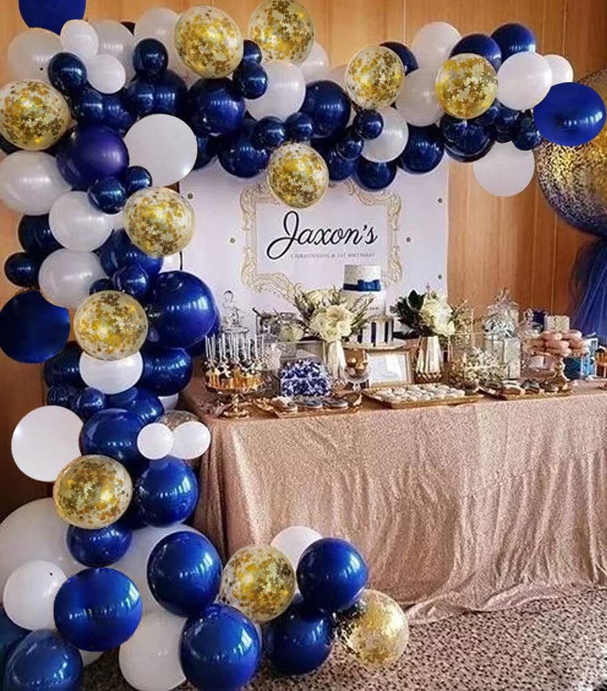 Navy Blue Balloon Arch Garland Kit Royal Baby Shower Balloons White Gold Confetti Balloon Bridal Shower Wedding Birthday Party Decorations Navy Party Backdrop