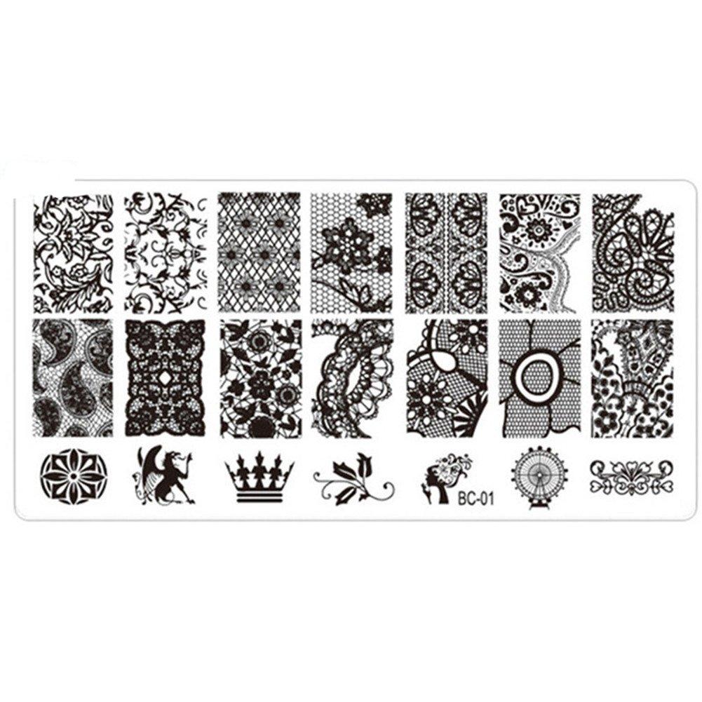 ODN Edelstahl Maniküre Stempelschablonen Nail Art Plate Stamping Nagel Bildstempel Schablone Nagel Tattoo Template, J