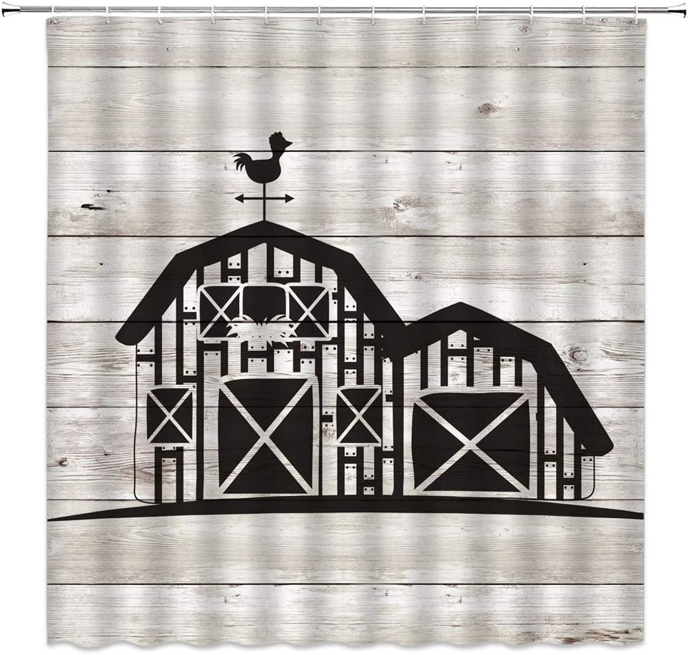Farmhouse Animals Rooster Shower Curtain Vintage Wood Shower Curtain with Hooks