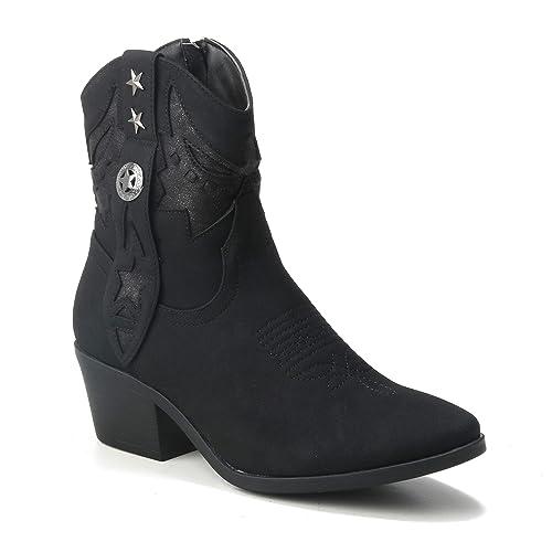 HERIXO Damen Schuhe Stiefeletten Cowboy Stiefel Ibiza Indianer Western Boots Reiter Mokassins Sommerstiefel Festival