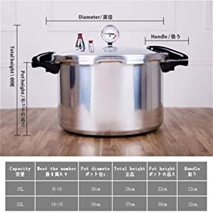 BLHZPD 15-22-Quart Pressure Canner,Aluminum canner Pressure Cooker Thickened Commercial Large Capacity Suitable for Gas Stove Open Flame Aluminum Polished (Color : Silver, Size : 22L)