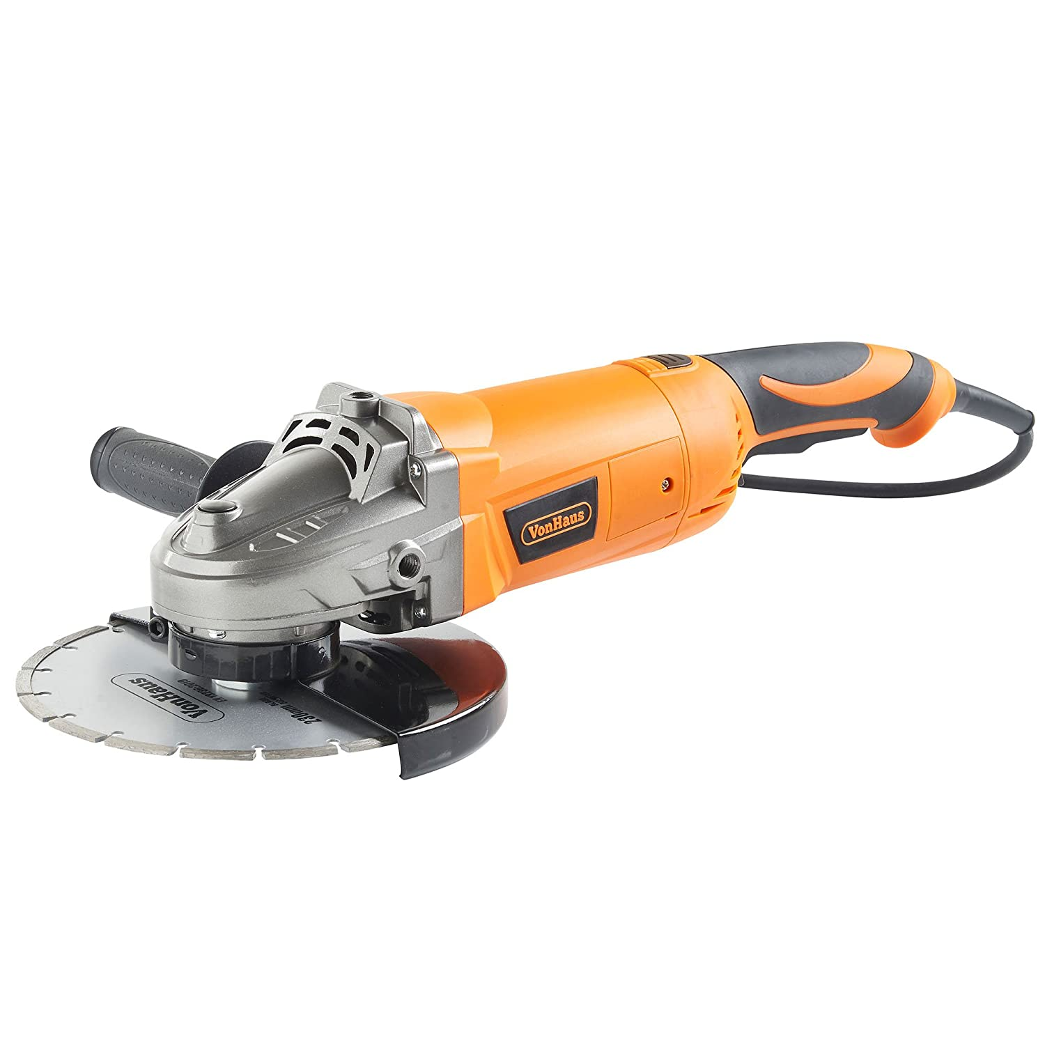 VonHaus 2200W 230mm 9 Angle Grinder Supplied With Diamond Tipped Cutting Disc Rotating Rear Handle
