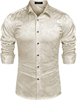 Xswsy XG Mens Button Down Long Sleeve Satin Silk Like Dance Dress Shirt