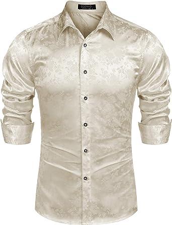 BYWX Men Fashion Long Sleeve Floral Print Cotton Button Down Shirt Top