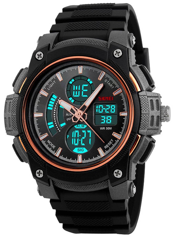 Carlienクロノグラフ防水メンズ腕時計3時間オス大きなダイヤルデジタルミリタリースポーツ腕時計 B0725WKZBQ