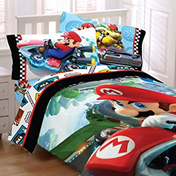 4pc nintendo super mario kart twin bedding set road rumble racing video game comforter and sheet - Twin Bed Sheets
