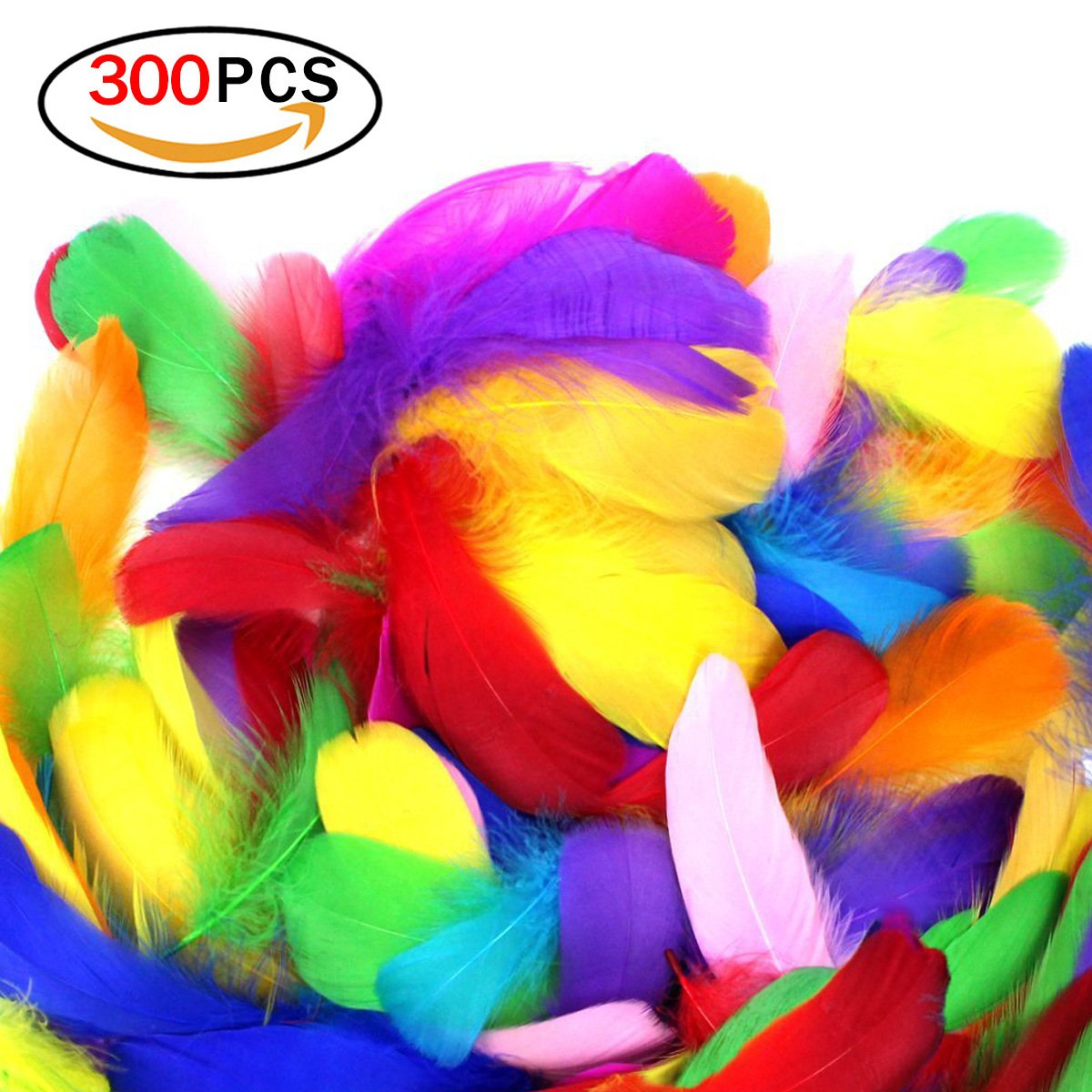 Rocita 300pcs DIY Colorful Feathers Assorted Color Craft Supplies for Arts Crafts Sewing