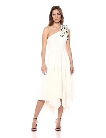 1f139b77 Halston Heritage Women's One Shoulder Ruffle Detail Crepe Gown,  Chalk/Black, ...