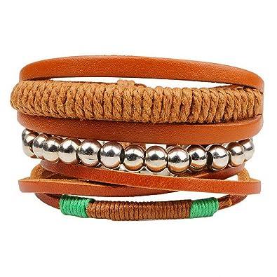 Echtschmuck Perlen Clever Armband Leder Schmuck Armbänder Damen Herren Modeschmuck Armreif Surferarmband