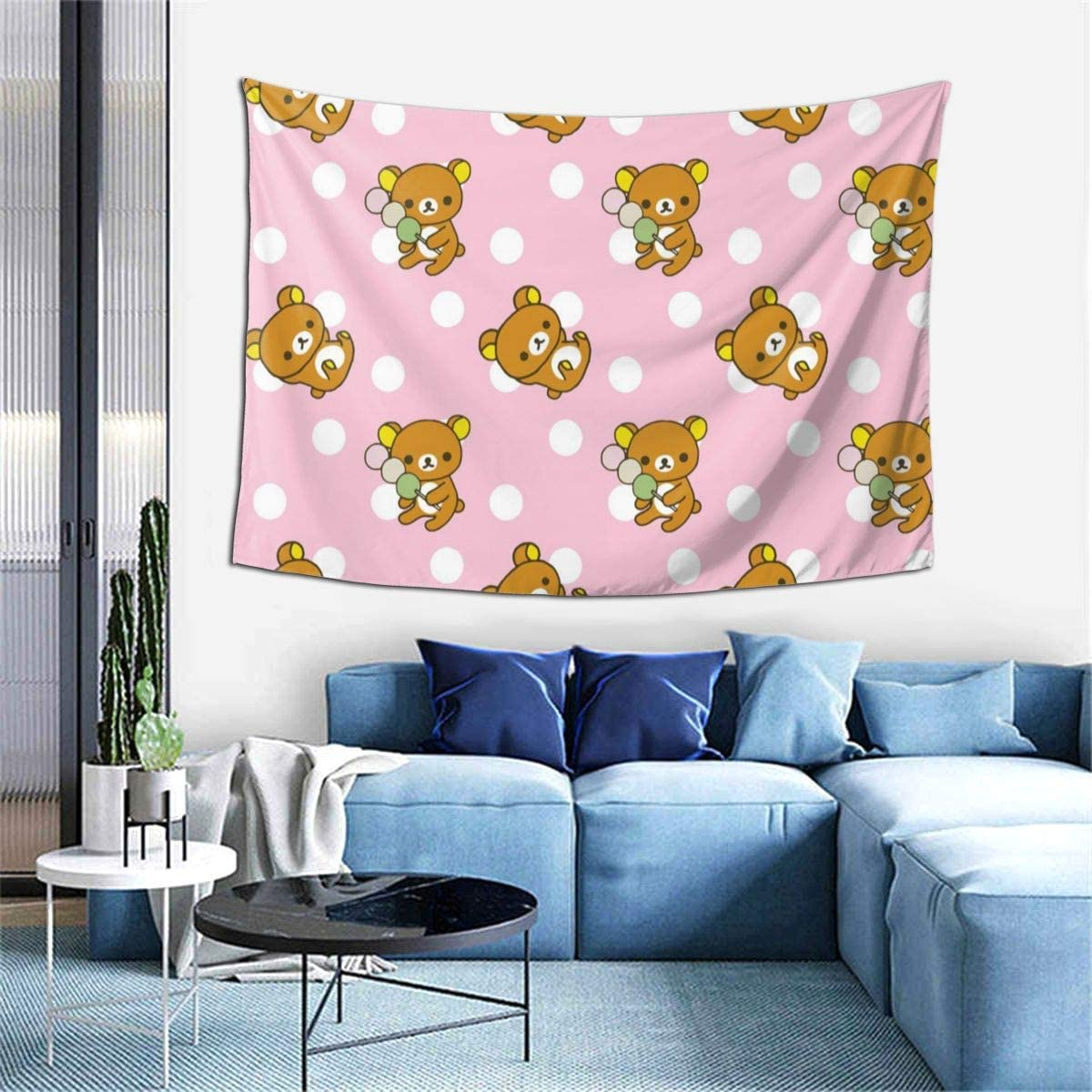 NewBHomeHome Rilakkuma Cute Pattern Tapestry Wall Hanging Hippie Blanket Tapestries Home Decorations for Bedroom Living Room Dorm Decor