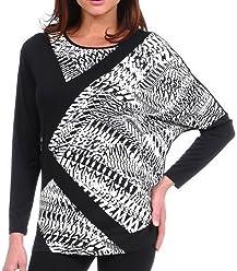 Scoop Neck Geometric Print Top Black /& White Swirls Lynn Ritchie