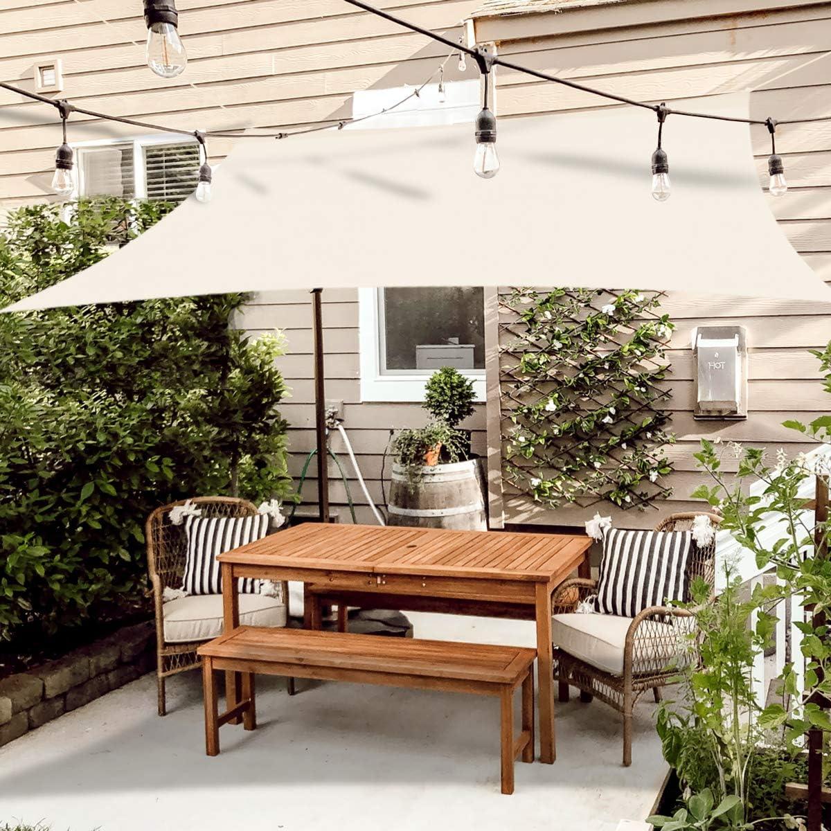 OKAWADACH Toldo Vela de Sombra Rectángulo 2 x 3m, Vela de Sombra Protección UV para Patio, Exteriores, Jardín, Blanco Crema