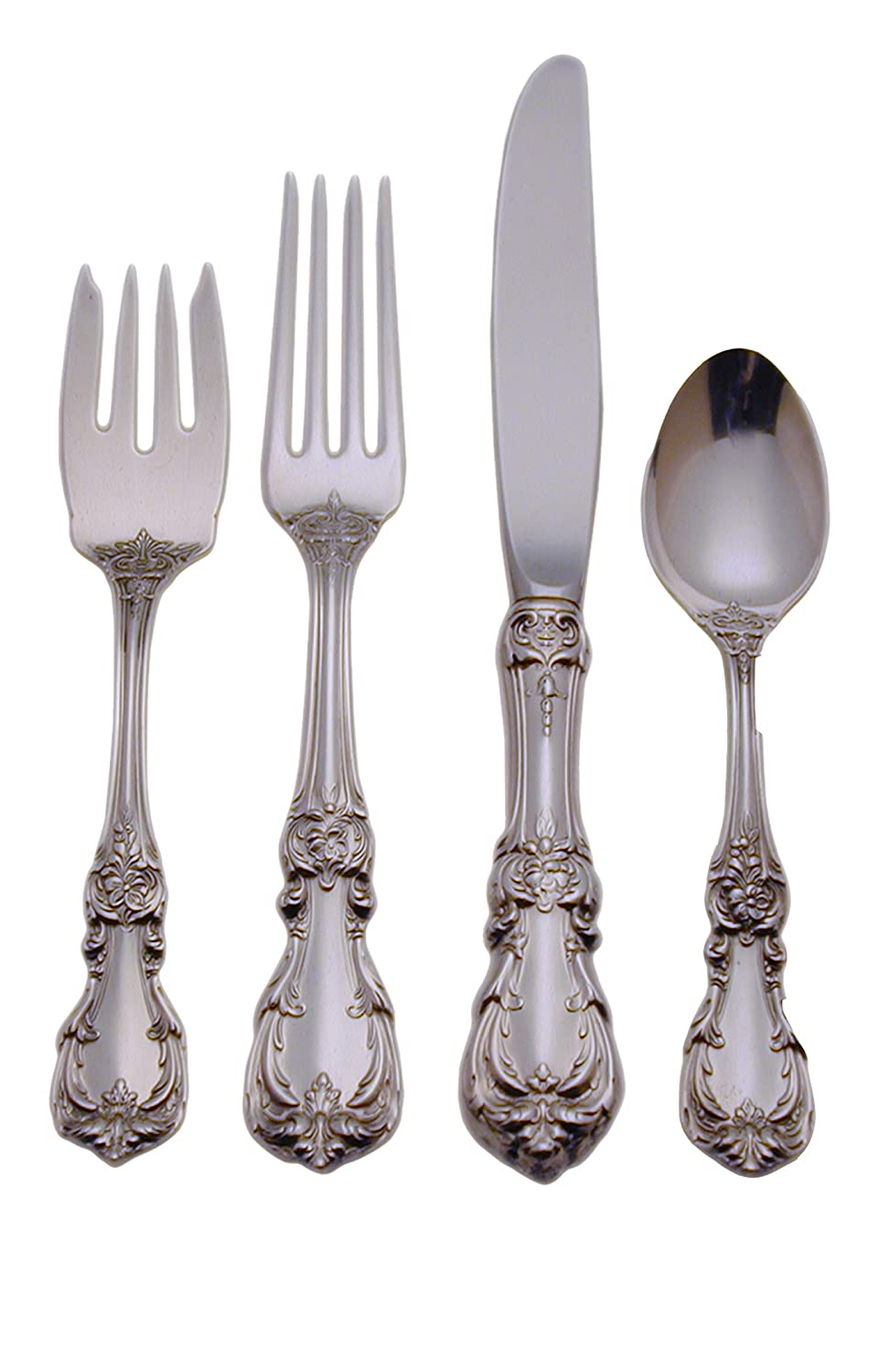 Sterling Silver Burgundy 4-Piece Flatware Set Service for 1