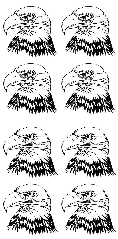 Black 16CC694 Fused Glass Decals Eagle Bird of Prey 1-1//8
