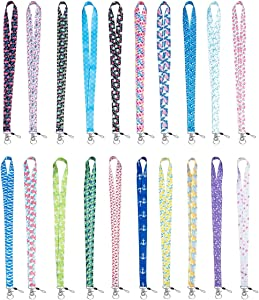 20 Pack of 19 Inch Blank Flat Woven Nylon Neck Lanyards/Straps/Strings with Metal Bulldog Clip Attachment for Office ID Name Tags and Badge Holders (Style 1)