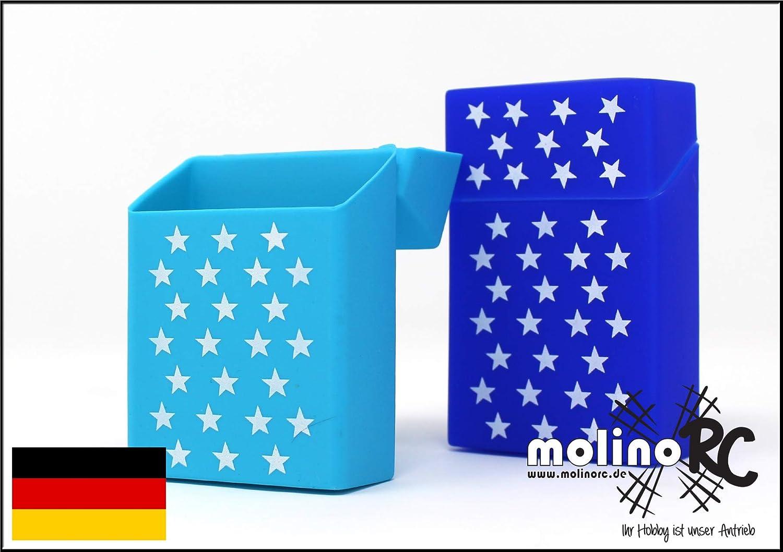 2 X Scatola per Sigarette in Silicone con Stelle Blu Scuro e Azzurro Adatto per Una Scatola per Sigarette in Formato Standard 20 21 21 scatole Portasigarette