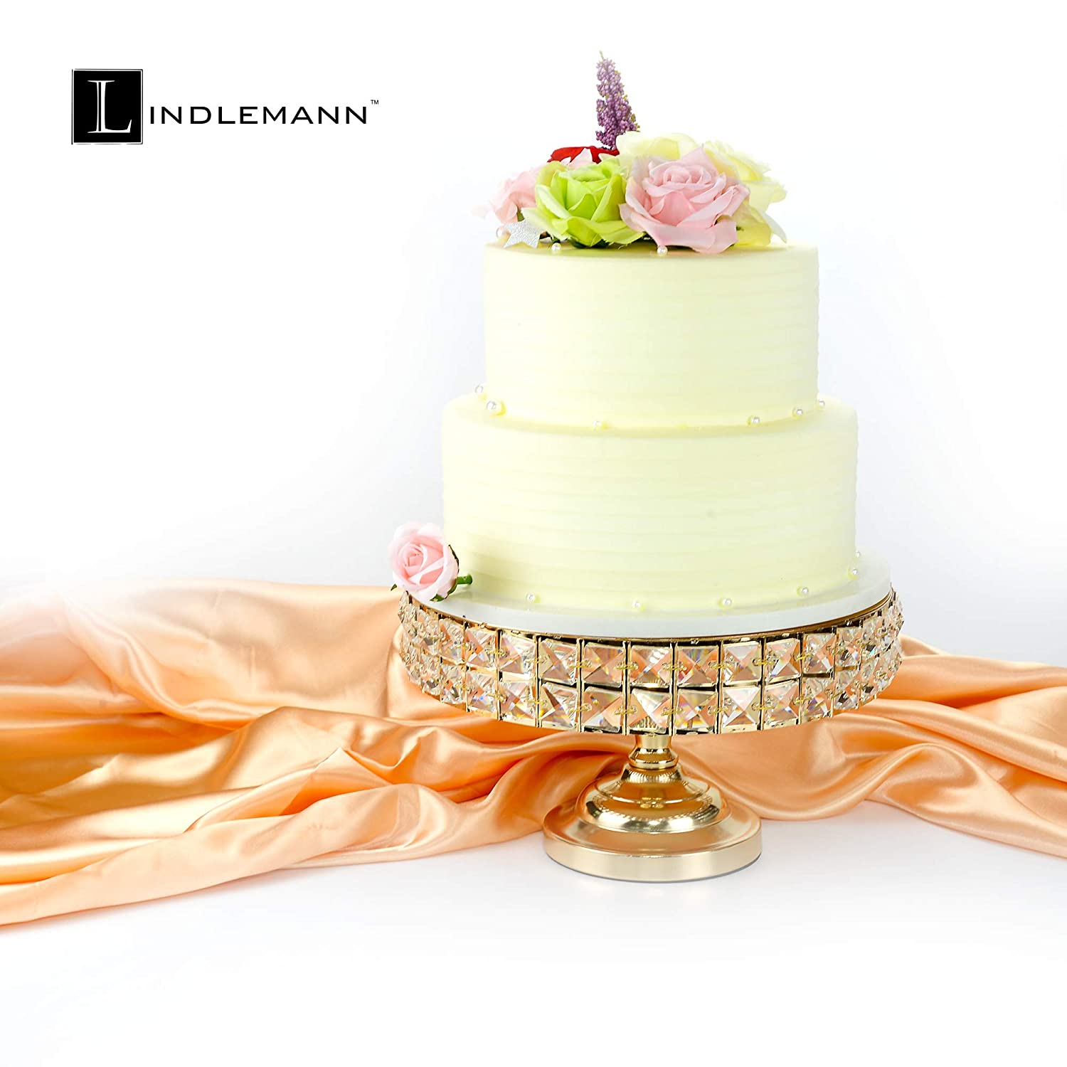 Round Cake Stands with Genuine Mineral Crystals Three Bonus Cake Spatulas Can be Used Individually or Stacked 10 inches + 12 inches + 13.5 inches, Gold Lindlemann Three Piece Metal Cake Stand