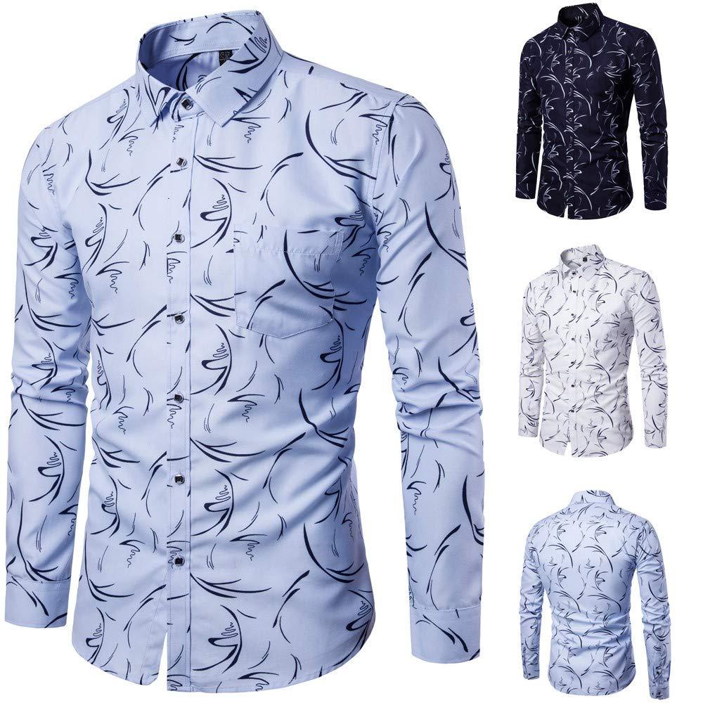 Yutao Mens Printed Slim Fit Long Sleeve Shirt Casual Button Down Dress Shirts