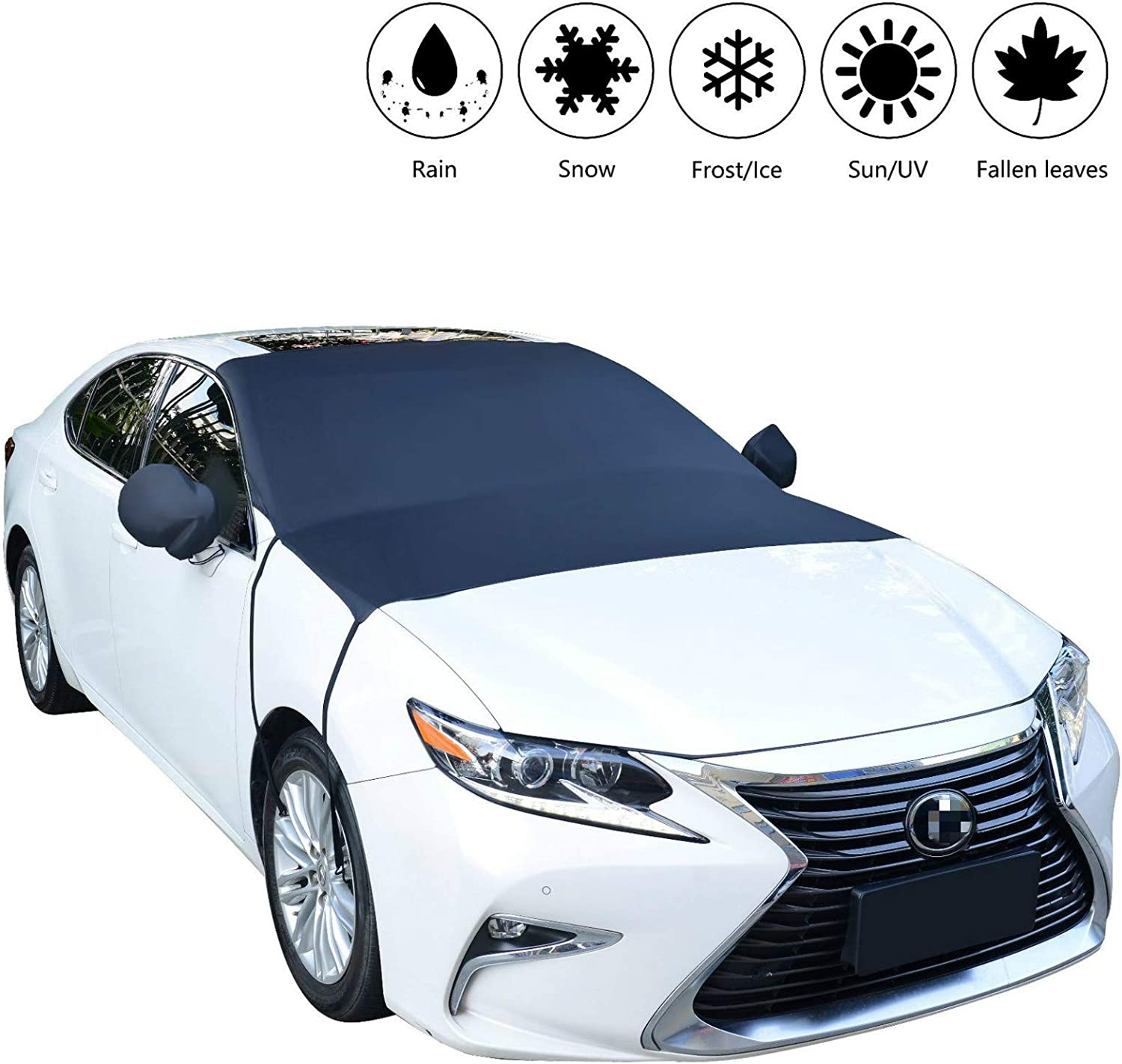 Fits Most Cars Ice and Frost Mid-Size SUVs and Minivans FROSTBLOCKER Winter Windshield and Mirror Covers 2 Pack | Protects from Snow